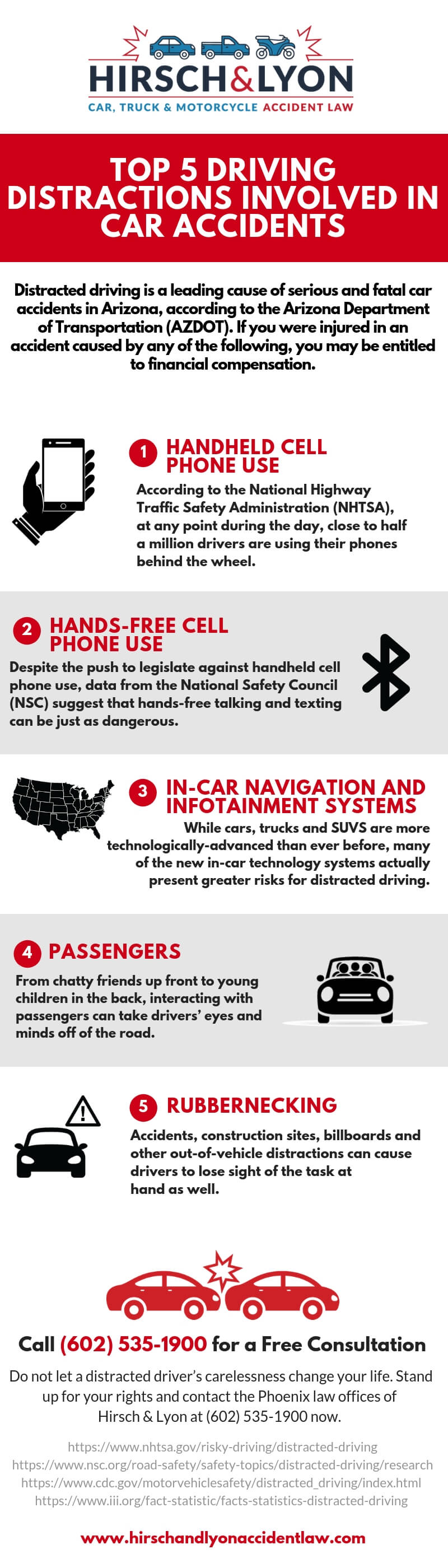 Hirsch & Lyon Infographic - Top 5 Driving Distractions Involved in Car Accidents