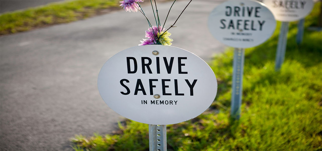Memorial for victims killed in motor vehicle accident